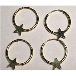 2 Pairs - 14KT Gold Hoop Earrings