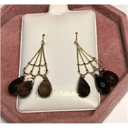 14KT Gold Smokey Quartz Earrings