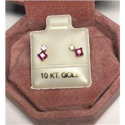 10KT Gold Moonstone & Ruby Earrings