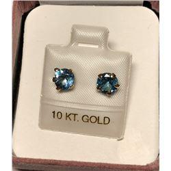10KT Gold Blue Topaz(1.5ct) Earrings