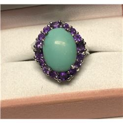 Sterling Silver Turquoise and Amethyst Ring