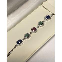 Sterling Silver Emerald, Ruby & Sapphire Bracelet