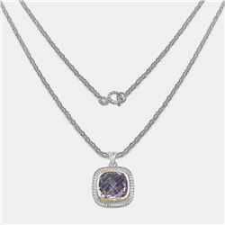 RHODIUM PLATED PINK AMETHYST PENDANT NECKLACE