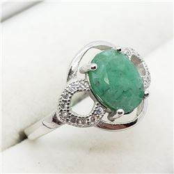 STERLING SILVER EMERALD CZ RING SIZE 6.75
