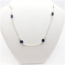 STERLING SILVER SAPPHIRE (10cts) NECKLACE