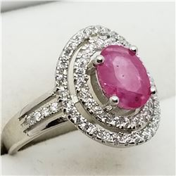 STERLING SILVER RUBY CUBIC ZIRCONIA RING