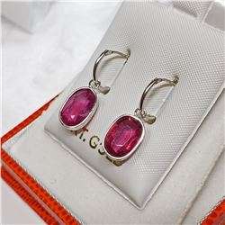 14K WHITE GOLD RUBY (7cts) EARRINGS
