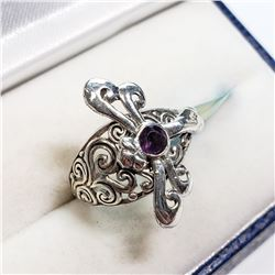 AMETHYST RING STERLING SILVER  SIZE 8