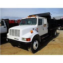 2002 INTERNATIONAL 4700 FLATBED DUMP, VIN/SN:1HTSCABR12H546234 - S/A, CREW CAB, INT T444E ENGINE, AL
