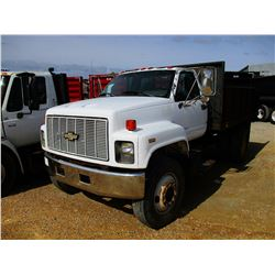 1996 CHEVROLET KODIAK FLATBED DUMP, VIN/SN:1GBJ7H1J9TJ102213 - S/A, CAT DIESEL ENGINE, 5 SPEED TRANS