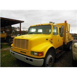 1998 INTERNATIONAL 4700 FLATBED DUMP, VIN/SN:1HTSCAAN7WH507037 - S/A, CREW CAB, DT466 DIESEL ENGINE,