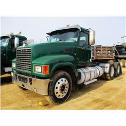 2008 MACK CHU613 TRUCK TRACTOR, VIN/SN:1M1AN09Y09N004466 - T/A, 415HP MP8 MACK ENGINE, 10 SPEED TRAN