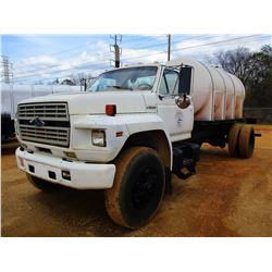1990 FORD F800 WATER TRUCK, VIN/SN:1FDYK84A4LVA03078 - FORD DIESEL ENGINE, A/T, WATER TANK WITH REAR