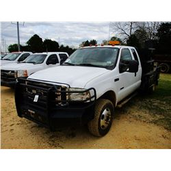 2006 FORD F350 FLATBED TRUCK, VIN/SN:1FDWX37P76EC20477 - 4X4, EXT CAB, FORD DIESEL ENGINE, A/T, 10'