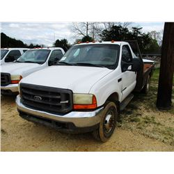 2000 FORD F350 FLATBED TRUCK, VIN/SN:1FDWF37F5YEE55621 - 4X4, POWER STROKE DIESEL ENGINE, 5 SPEED TR