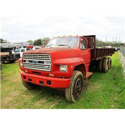 FORD FLATBED DUMP, - GAS ENGINE, 5 SPEED TRANS, GVWR 44,000#, 22' FLATBED DUMP BODY