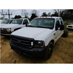 2004 FORD F350 CAB & CHASSIS, VIN/SN:1FDWW36P64EC69221 - POWERSTROKE DIESEL ENGINE, CREW CAB, A/T, O