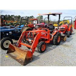 KUBOTA B2710 FARM TRACTOR, VIN/SN:53404 - MFWD, BOX BLADE, LA402 LOADER BUCKET, CANOPY, 12.0-16 TIRE