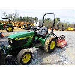 JOHN DEERE 4100 FARM TRACTOR, VIN/SN:213542 - MFWD, ROLL BAR, BUSH HOG SQ480 4' ROTARY CUTTER, METER