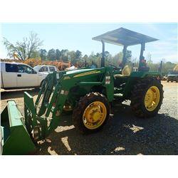 JOHN DEERE 5055E FARM TRACTOR, VIN/SN:007398 - MFWD, 1 REMOTE, 553 FRONT LOADER, COUPLER & FORKS, CA
