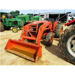 KUBOTA L5740 FARM TRACTOR, - MFWD, 3 REMOTES, LA854 FRONT LOADER, ROLL BAR