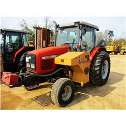2002 MASSEY FERGUSON 4355 FARM TRACTOR, VIN/SN:L37024 - 2 REMOTES, SIDE- MOUNTED FLAIL MOWER, CAB, A