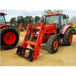 KUBOTA M108X FARM TRACTOR, VIN/SN:M108X50288 - MFWD, 2 REMOTES, LA1301S LOADER W/COUPLER, CAB, A/C,