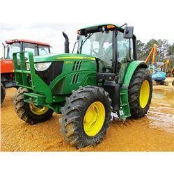 2014 JOHN DEERE 6125M FARM TRACTOR, VIN/SN:784619 - MFWD, 3 REMOTES, CAB, A/C, 460.85R.64 TIRES, MET