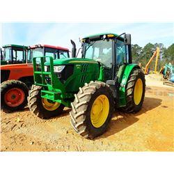 2015 JOHN DEERE 6115M FARM TRACTOR, VIN/SN:819565 - MFWD, 3 REMOTES, CAB, A/C, 460/85R38 TIRES, METE