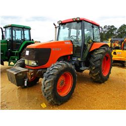 KUBOTA M125X FARM TRACTOR, VIN/SN:S0085 - MFWD, 3TH PTO, 2 HYD REMOTES, CAB, METER READING 912 HOURS