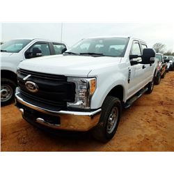 2017 FORD F250XL PICKUP, VIN/SN:1FT7W2B69HEC36686 - 4X4, CREW CAB, V8 GAS ENGINE, A/T, LONG BED, ODO