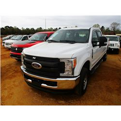 2017 FORD F250XL PICKUP, VIN/SN:1FT7W2B67HEC50652 - 4X4, CREW CAB, V8 GAS ENGINE, A/T, LONG BED, ODO