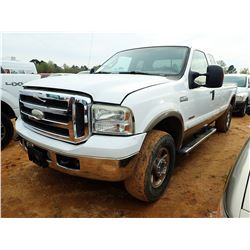 2005 FORD F250 PICKUP, VIN/SN:1FTSX21PX5EB80030 - 4X4, EXTENDED CAB, FORD POWER STROKE DIESEL ENGINE