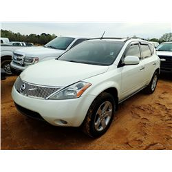 2004 NISSAN MURANO VIN/SN:JN8AZ08T24W209143 - V6 GAS ENGINE, A/T, ODOMETER READING 141,150 MILES