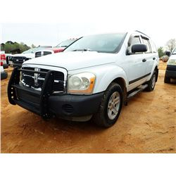 2006 DODGE DURANGO, VIN/SN:1D4HD38N66F155024 GAS ENGINE, A/T (COUNTY OWNED)