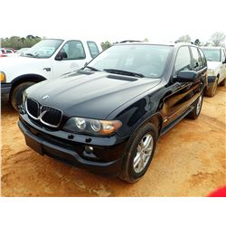 2004 BMW X5, VIN/SN:5UXFA13534LU36588 - GAS ENGINE, A/T, ODOMETER READING 267,293 MILES