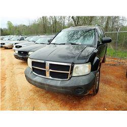 2007 DODGE DURANGO SUV, VIN/SN:1D8HB38P17F543639 - V8 ENGINE, A/T, ODOMETER READING 179,061 MILES (S