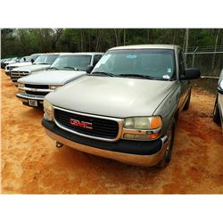 2001 GMC 1500 PICKUP, VIN/SN:1GTEC14W11Z131534 - GAS ENGINE, A/T, ODOMETER READING 227,975 MILES