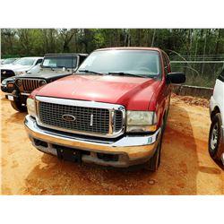 2002 FORD EXCURSION SUV, VIN/SN:1FMNU40L42EA47643 - GAS ENGINE, A/T, ODOMETER READING 216,263 MILES