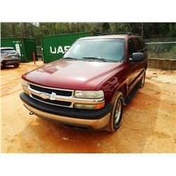 2001 CHEVROLET TAHOE SUV, VIN/SN:1GNEC13T01J277386 - GAS ENGINE, A/T, ODOMETER READING 179,472 MILES