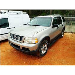 2003 FORD EXPLORER XLT SUV, VIN/SN:1FMZU73WX3UB31854 - GAS ENGINE, A/T