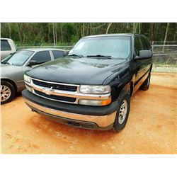 2005 CHEVROLET TAHOE SUV, VIN/SN:1GNEK13Z85J205462 - GAS ENGINE, A/T, ODOMETER READING 170,205 MILES