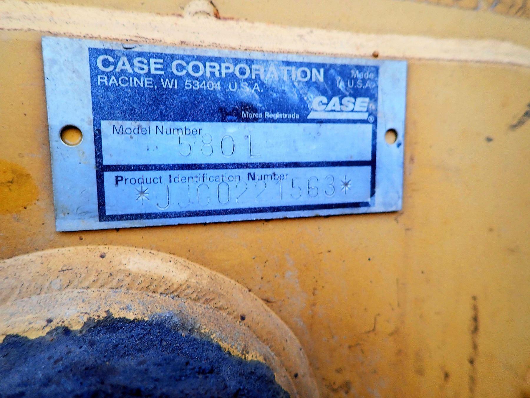 1996 CASE 580L LOADER BACKHOE, VIN/SN:JJG0221563 - BUCKET, E-STICK, CANOPY,  METER READING 7,754 HOUR