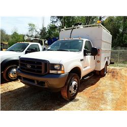 2002 FORD F550 COVERED SERVICE TRUCK, VIN/SN:1FDAF56F02EB97670 - POWER STROKE DIESEL ENGINE, A/T, CO
