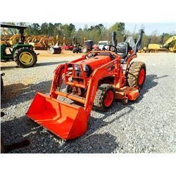 KUBOTA B7510 FARM TRACTOR, VIN/SN:62847 - MFWD, L302-1 LOADER, ROLL BAR, MOWER ATTACHMENT, METER REA