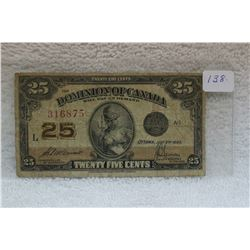 Canada Twenty-Five Cent Paper Bill (Shinplaster)
