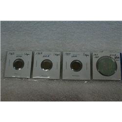 U.S.S.R. Three 1 Kopec Coins (4)
