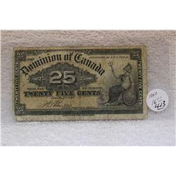 Dominion of Canada Twenty-five Cent Bill