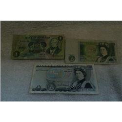 English 1 Pound & 5 Pound Notes and Scottish 1 Pound