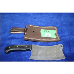 Damascas Meat Cleaver w/Micarta Handle; Embossed Sheath